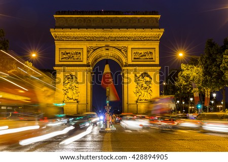 Paris, France, July 24.2015 - Arc de Triomphe in Paris, France