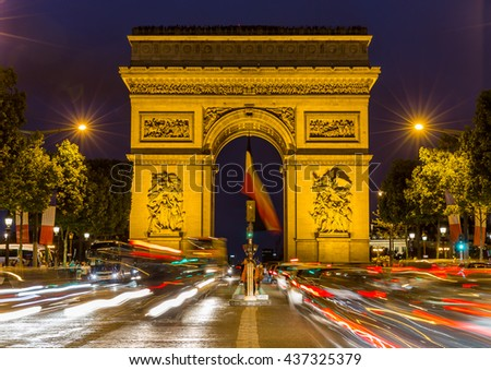 Paris, France, July 26.2015 - Arc de Triomphe in Paris, France