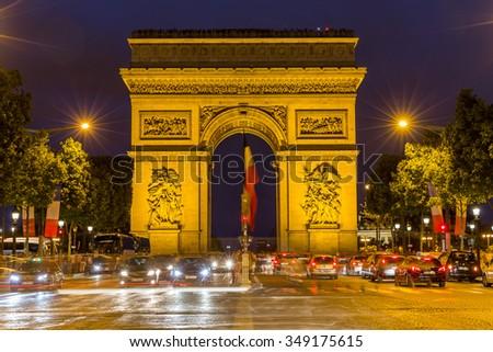 Paris, France-July 21, Arc de Triomphe in Paris, France, July 21.2015 in Paris - stock photo