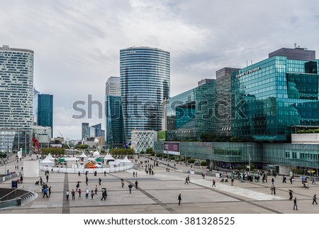 PARIS, FRANCE - JULY 13, 2012: Business district of Defense to the west of Paris. Defense is biggest business district in France and most of large companies have offices here.