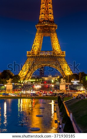 Paris, France-July 26, Eiffel tower in Paris by night, France, July 26.2015 in Paris