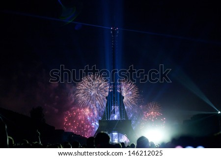 PARIS, FRANCE - JULY 14. Fireworks and the Eiffel tower on the National Day of France in Paris France, July 14, 2013