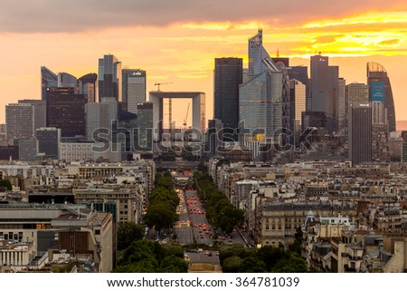 Paris, France-July 22, La Defense business district in Paris at night, France, July 22.2015 in Paris - stock photo