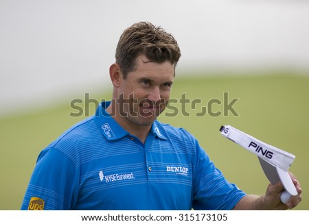 PARIS FRANCE, 05 JULY 2009. Lee Westwood (GBR) second placed player in the PGA European Tour Open de France golf tournament. - stock photo