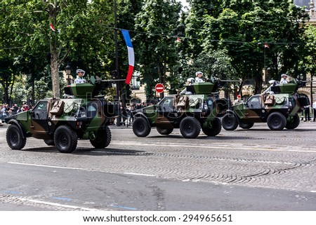 PARIS, FRANCE - JULY 14, 2012: Military parade (Defile) in the Republic Day (Bastille Day). Champs Elysees.