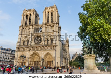 Paris, France-July 24, Notre Dame Cathedral in Paris, France, July 24.2015 in Paris