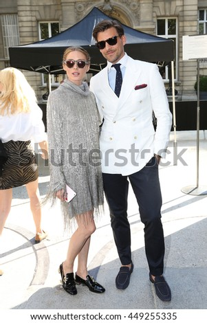 PARIS, FRANCE -JULY 06: Olivia Palermo, Johannes Huebl  attends the Valentino Haute Couture Fall/Winter 2016-2017 show as part of Paris Fashion Week. Outside arrivals. July 6, 2016  in Paris, France