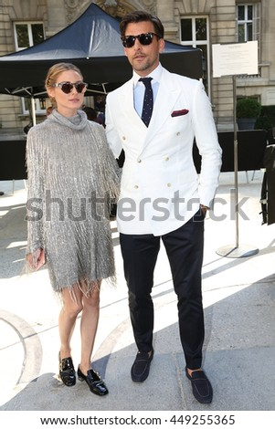 PARIS, FRANCE -JULY 06: Olivia Palermo, Johannes Huebl  attends the Valentino Haute Couture Fall/Winter 2016-2017 show as part of Paris Fashion Week. Outside arrivals. July 6, 2016  in Paris, France   - stock photo