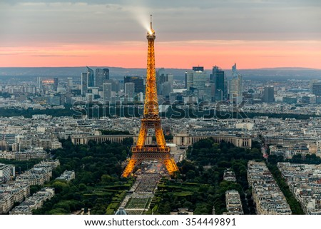 Paris, France - July 22, panoramic view of Paris from the Eiffel Tower at night, July 22.2015-Paris, France - stock photo