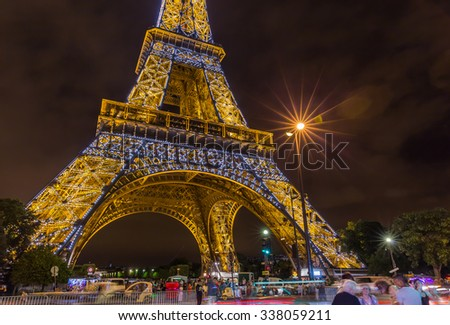 Paris, France-July 20, Paris Eiffel Tower at night, July 20.2015 in Paris