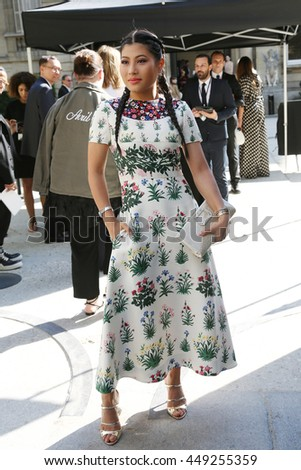 PARIS, FRANCE -JULY 06: Princess of Thailand Siriwanwaree Nareerat attends the Valentino Haute Couture Fall/Winter 2016-2017 show of Paris Fashion Week.Outside arrivals. July 6, 2016, Paris, France   - stock photo