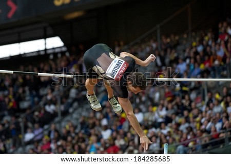 PARIS, FRANCE - JULY 7, 2011 - Renaud Lavillenie jumping at meeting Areva to Stade de France - stock photo