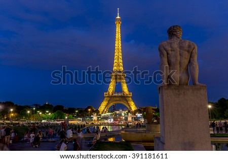 Paris, France, July 26.2015 - the Eiffel Tower in Paris at night - stock photo