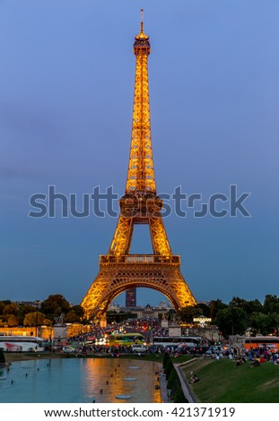 Paris, France, July 25.2015 - the Eiffel Tower in Paris at night, France