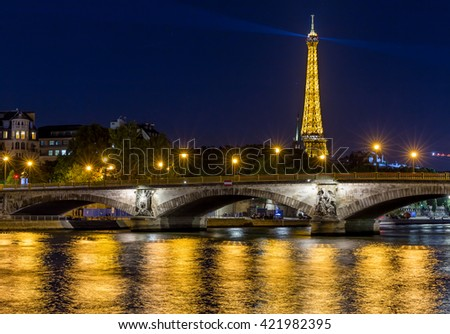 Paris, France, July 24.2015 - the Eiffel Tower in Paris at night, France - stock photo
