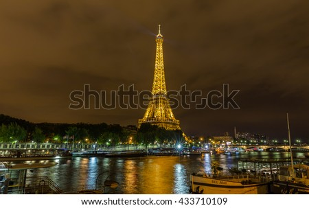 Paris, France, July 24.2015 - the Eiffel Tower in Paris at night, France