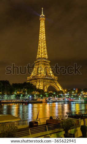 Paris, France-July 21, the Eiffel Tower in Paris at night, France, July 21.2015 in Paris - stock photo