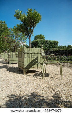 PARIS, FRANCE- July 28: View of Jardin du Luxembourg on July 28, 2013 in Paris, France.  - stock photo