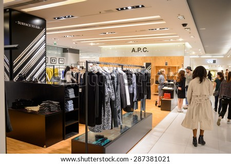 PARIS, FRANCE - JUN 6, 2015: A.P.C. section in the Galeries Lafayette city mall. It was open in 1912