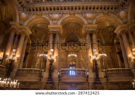 PARIS, FRANCE - JUN 6, 2015: Decoration of the Palais Garnier (Opera Garnier) in Paris, France. It was originally called the Salle des Capucines