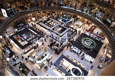 PARIS, FRANCE - JUN 6, 2015: Dior section in Galeries Lafayette city mall. It was open in 1912