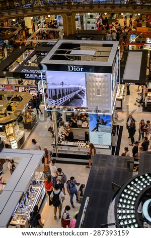 PARIS, FRANCE - JUN 6, 2015: Dior section in the Galeries Lafayette city mall. It was open in 1912