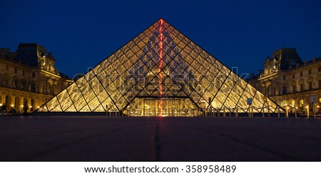 PARIS, FRANCE - JUN 18, 2014: Famous Louvre Museum Pyramid made of glass in Paris France on Jun 18, 2014.