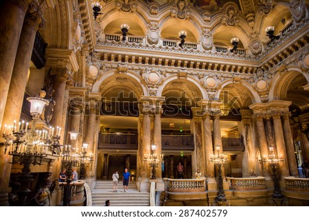 PARIS, FRANCE - JUN 6, 2015: Hall of the Palais Garnier (Opera Garnier) in Paris, France. It was originally called the Salle des Capucines