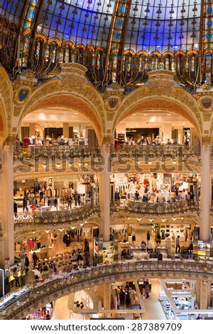 PARIS, FRANCE - JUN 6, 2015: Interior of the Galeries Lafayette city mall. It was open in 1912