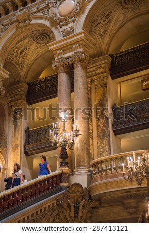 PARIS, FRANCE - JUN 6, 2015: Interior of the Palais Garnier (Opera Garnier) in Paris, France. It was originally called the Salle des Capucines