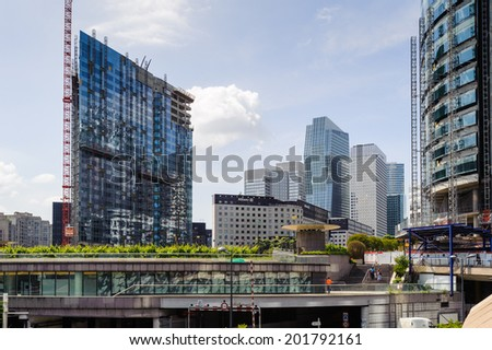 PARIS, FRANCE - JUN 18, 2014: Modern architecture of the La Defense district. La Defense is the major business district of the Paris, France