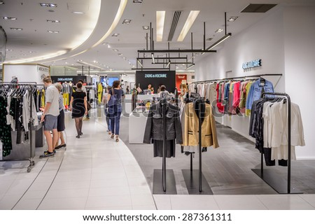 PARIS, FRANCE - JUN 6, 2015: Zadig and Voltaire section in the Galeries Lafayette city mall. It was open in 1912