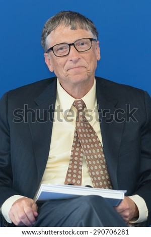 PARIS, FRANCE - JUNE 25, 2015 :Bill Gates during the signing of a partnership vaccination in the Sahel with France at french Ministry of Foreign affair. - stock photo