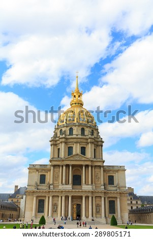 PARIS, FRANCE -JUNE 2: Chapel of Saint Louis des Invalides on June 2, 2015 in Paris. Chapel built in 1679 is the burial site for some of France's war heroes, notably Napoleon Bonapart - stock photo