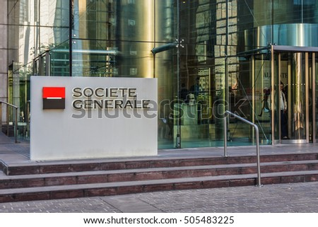 PARIS, FRANCE - JUNE 8, 2015: Entrance to Societe Generale headquarter (SG) in La Defense district, Paris. Societe Generale is a French multinational banking and financial services company.