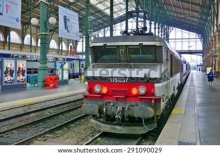 PARIS, FRANCE -19 JUNE 2015- French trains Corail bound for the north of France at the Paris Gare du Nord railway station.