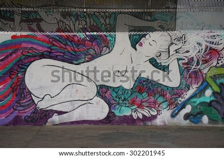 PARIS, FRANCE -15 JUNE 2015- Graffiti paintings and street art murals near the Gare d Austerlitz train station in the 13th arrondissement of the French capital.
