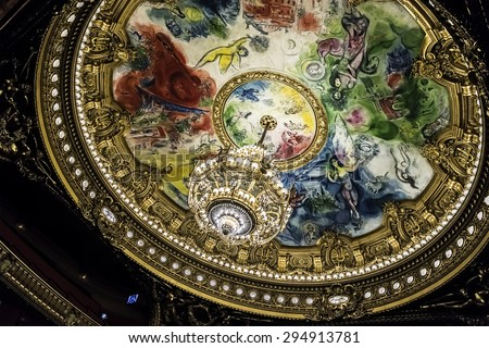 PARIS, FRANCE - JUNE 11, 2015: Interior auditorium of Opera National de Paris. Grand Opera (Garnier Palace or Salle des Capucines, 1875) - famous neo-baroque building - UNESCO World Heritage Site. - stock photo