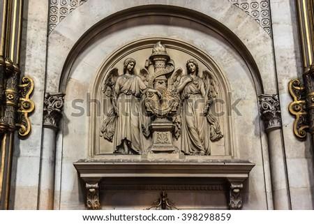 PARIS, FRANCE - JUNE 12, 2015: Interior of Church of St. Augustine (Eglise Saint-Augustin de Paris, 1868), a Catholic church located at boulevard Malesherbes in Paris. - stock photo
