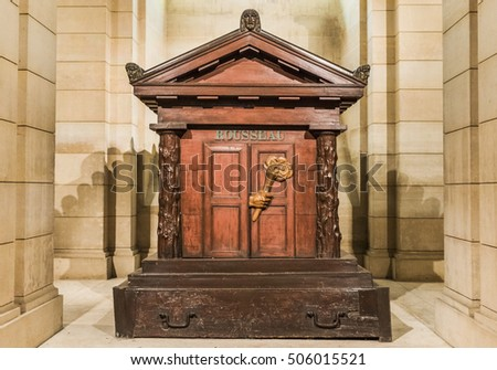 PARIS,FRANCE-JUNE 2016: JeanJacques Rousseau grave in Paris Pantheon