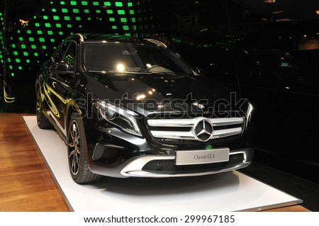 PARIS, FRANCE - JUNE 23: Mercedes -Benz german brand feautures classe GLA in the party town of Paris on June 23, 2015 in Paris, France