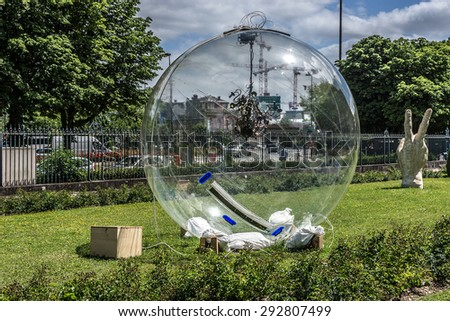 PARIS, FRANCE - JUNE 3, 2015: Modern ceramic sculpture near Ceramics Museum. Located in building specially built in 1876 on banks of river Seine, Sevres Ceramics Museum contains over 50,000 ceramics.