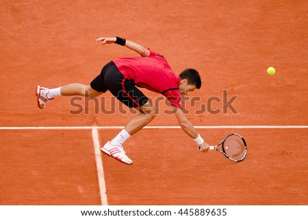 PARIS, FRANCE - JUNE, 5: Novak Djokovic of Serbia during his men's singles final match against Andy Murray of Great Britain on day fifteen of the 2016 French Open at Roland Garros.  - stock photo