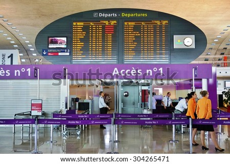 PARIS, FRANCE -9 JUNE 2015- Terminal 2F at the Roissy Charles de Gaulle International Airport (CDG) near Paris, France, is a hub for the French airline Air France. - stock photo
