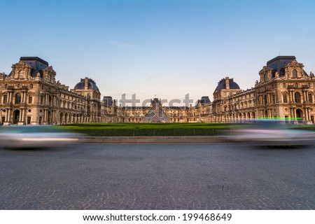 Paris, France - June 7th, 2014: The Louvre museum, Paris, at twilight, one of the major tourist attractions in France and in Europe