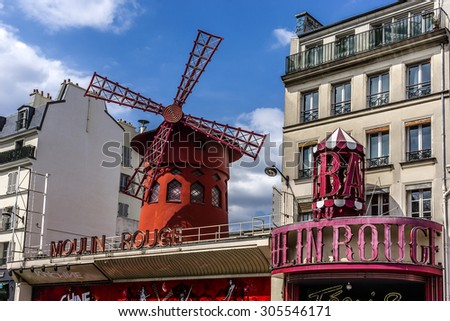 PARIS, FRANCE - JUNE 9, 2015: The Moulin Rouge. Moulin Rouge is a famous cabaret built in 1889, locating in Paris red-light district of Pigalle on Boulevard de Clichy.