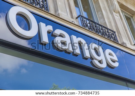 PARIS, FRANCE - JUNE 16, 2017: View at Orange store in Paris, France. Orange is a French multinational telecommunications corporation.