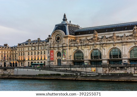 PARIS, FRANCE - JUNE 10, 2015: View of D'Orsay Museum at sunset. D'Orsay - a museum on left bank of Seine, it is housed in former Gare d'Orsay. Orsay holds mainly French art dating from 1848 to 1915.  - stock photo