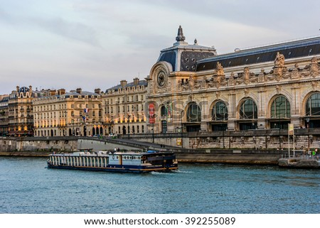 PARIS, FRANCE - JUNE 10, 2015: View of D'Orsay Museum at sunset. D'Orsay - a museum on left bank of Seine, it is housed in former Gare d'Orsay. Orsay holds mainly French art dating from 1848 to 1915.