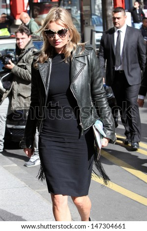 Paris. France. Kate Moss arrives at the George V hotel in Paris. 1st October 2012.